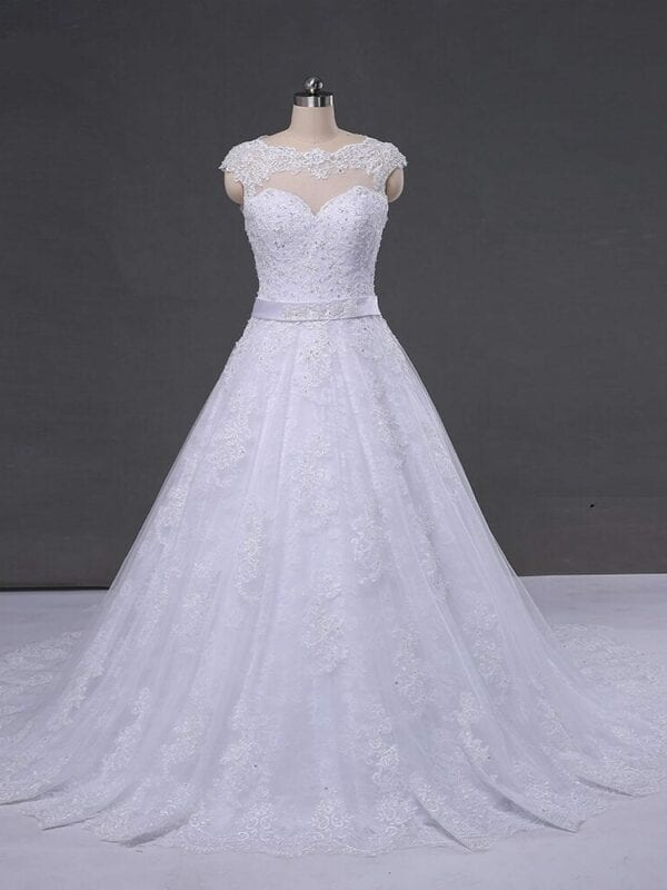 Appliques Tulle Lace See Through Back Wedding Dress