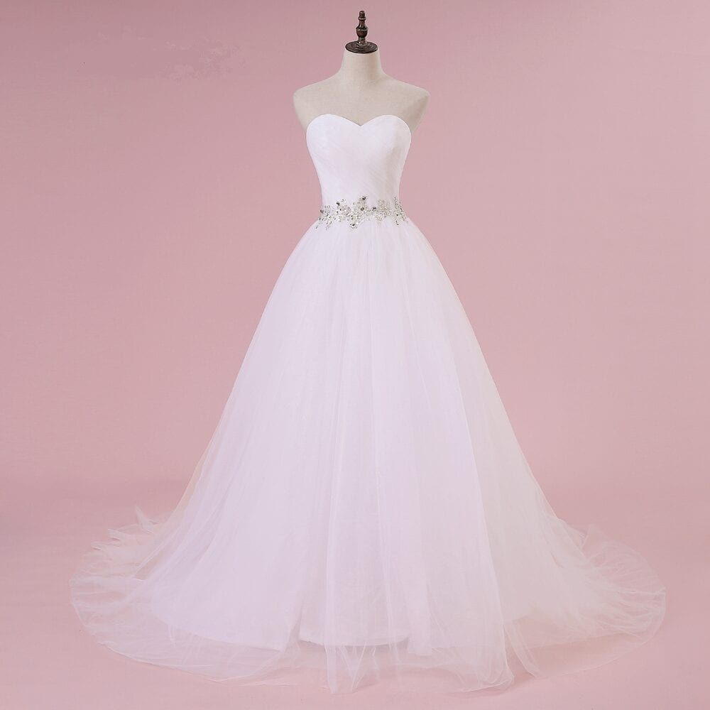 Sweetheart White Ivory Lace Tulle Wedding Dress