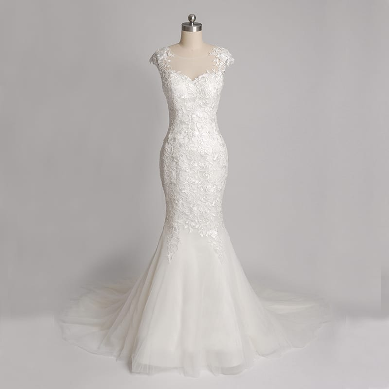 O-neck Cap Sleeves Lace Mermaid Wedding Dress