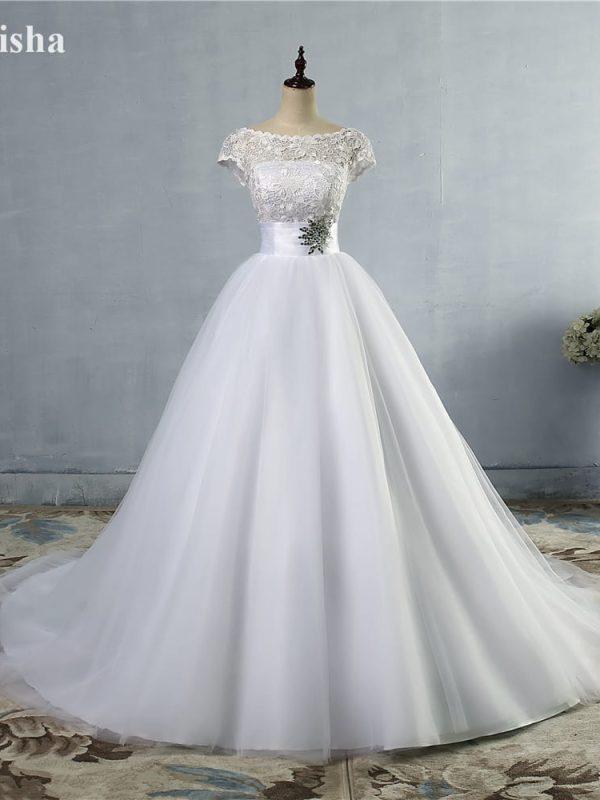 White Ivory Beading Cap Sleeve Lace Wedding Dress