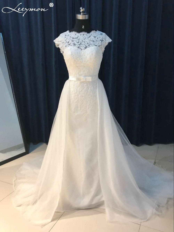 0d3bd91ac2f Vintage White Lace Backless Detachable Train Mermaid Wedding Dress ...