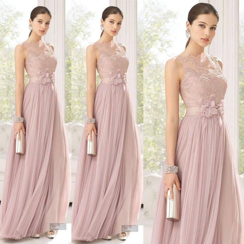 45c71b1161e Blush Tulle Lace Flowers Maid Of Honor Floor Length Bridesmaid Dress