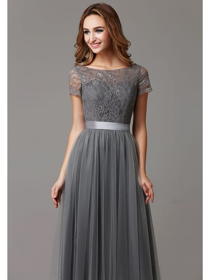Gray lace tulle floor length short sleeves sheer neckline for Short long sleeved wedding dresses