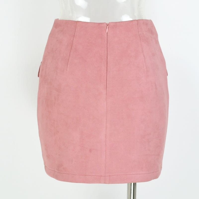 Vintage High Waist External Pocket Tight Suede Mini Skirt