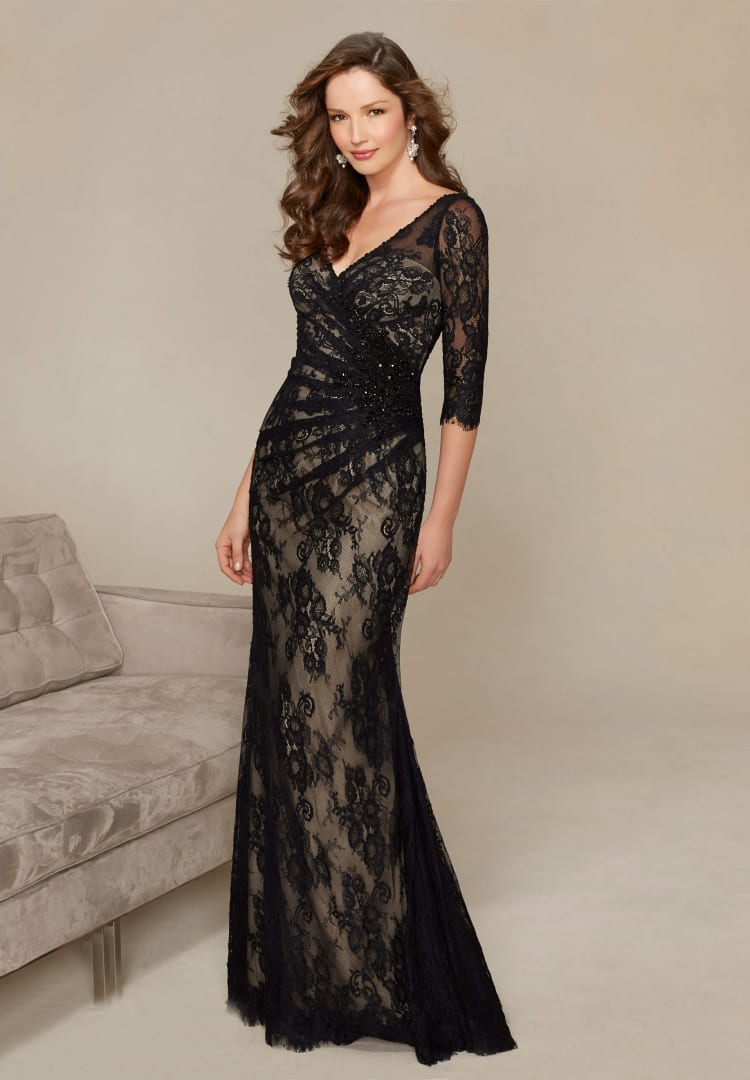 3/4 Long Sleeve Long Mermaid Black Lace Evening Mother Of The Bride Dress