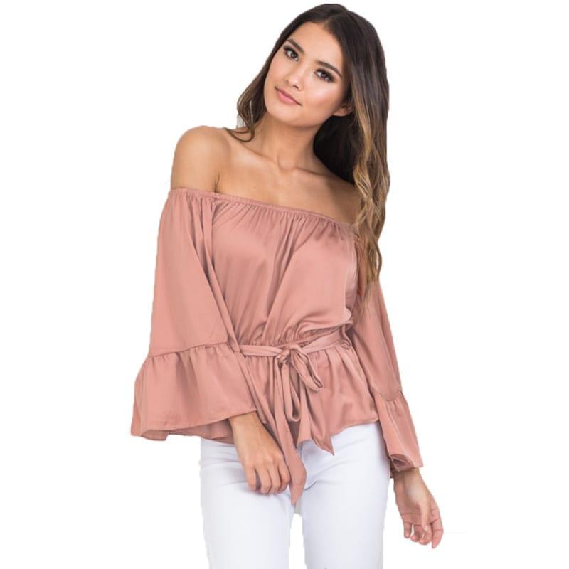 9cededf74f1d9c Off Shoulder Flare Sleeve Ruffled Belt Peplum Silk Satin Slip Blouse Shirt  Top
