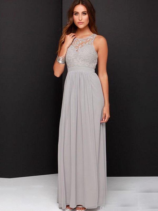 Gray A-line Sleeve O-neck Open Back Floor Length Bridesmaid Dress