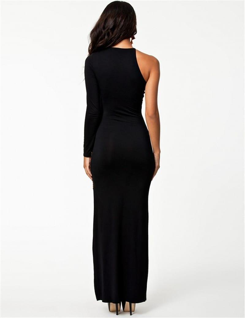 Elegant O-neck Floor Length One Sleeve Maxi Long Dress