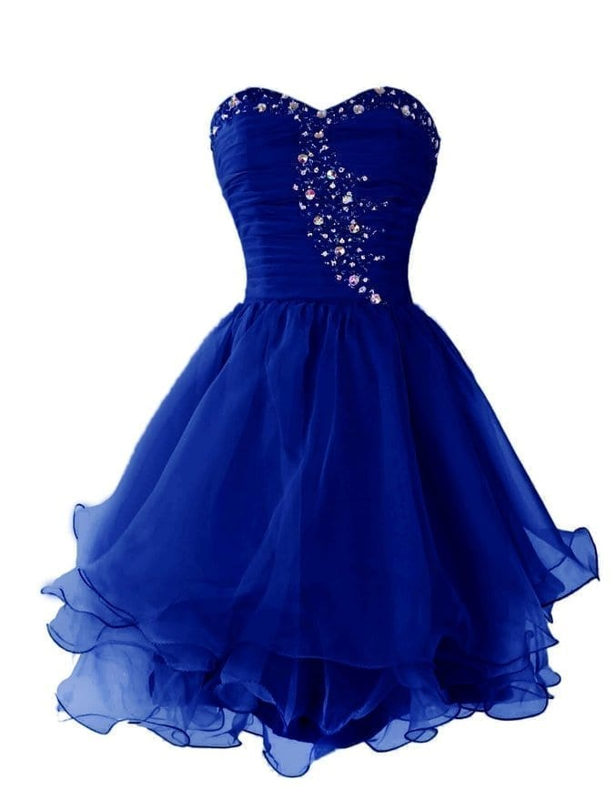 bec62a570a8 Royal Blue Beading Sweetheart Short Prom Dress With Ruffles ...