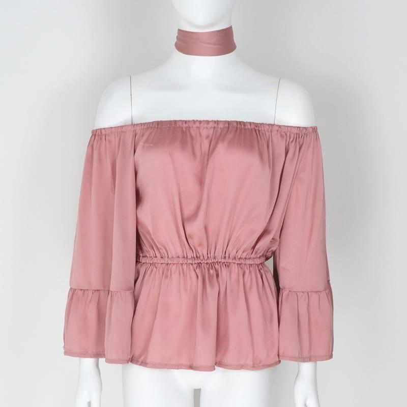 Off Shoulder Flare Sleeve Ruffled Belt Peplum Silk Satin Slip Blouse Shirt Top