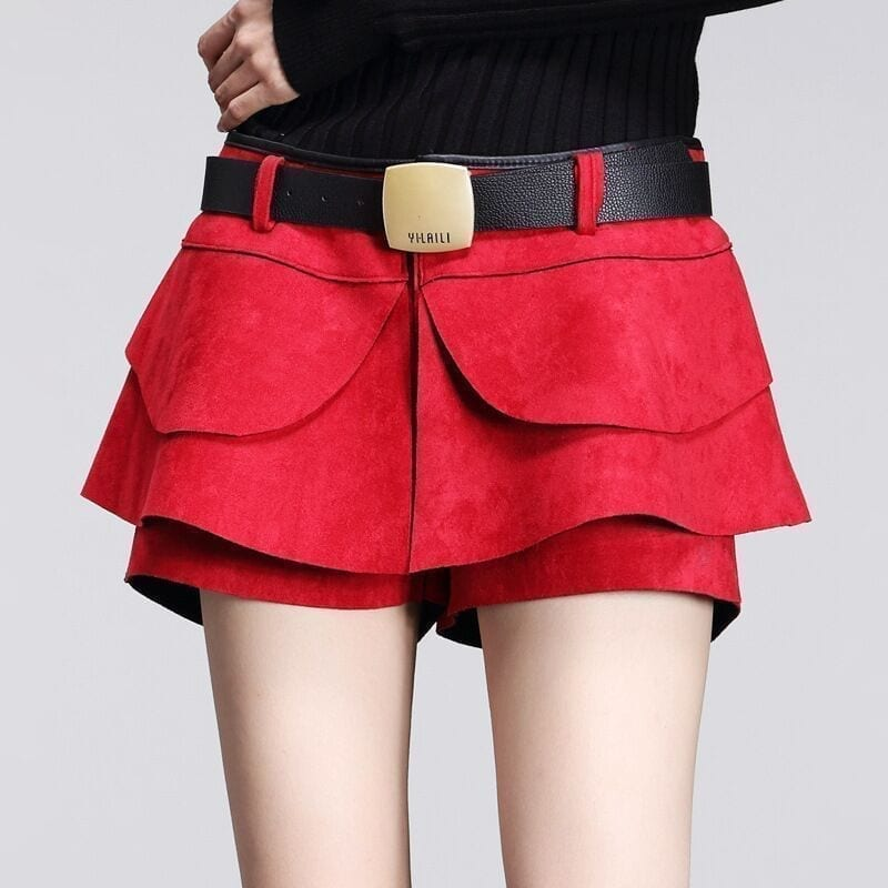Suede Crochet High Waist Pleated Solid Shorts Skirt Boots