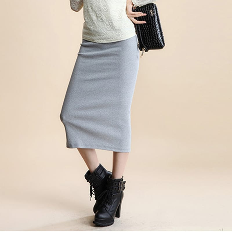Pencil Office Look Natural Waist Mid-calf Solid Skirt