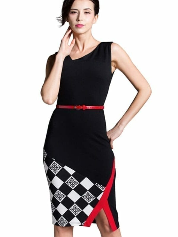 Knee-length Belted Black Grid Casual Office Business Bodycon Elegant Pencil Dress