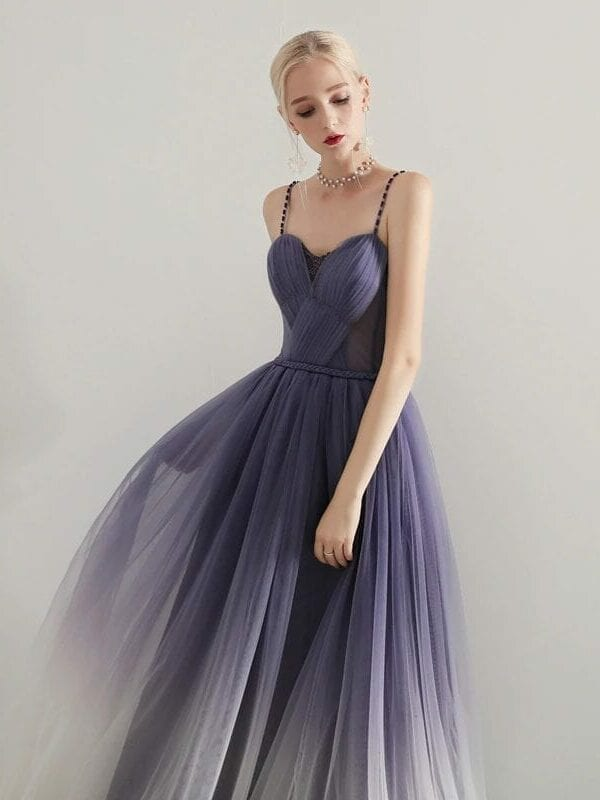 Soft Tulle Pleat A-line Long Prom Dress