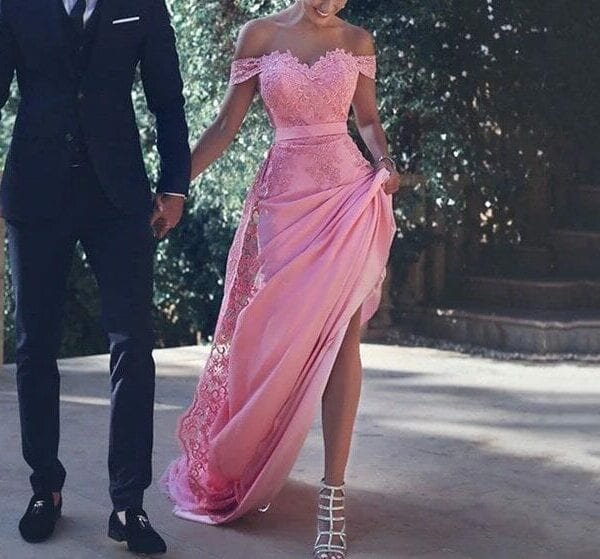 Elegant Pink Off Shoulder With Lace Applique Court Train Floor Length Prom Dress