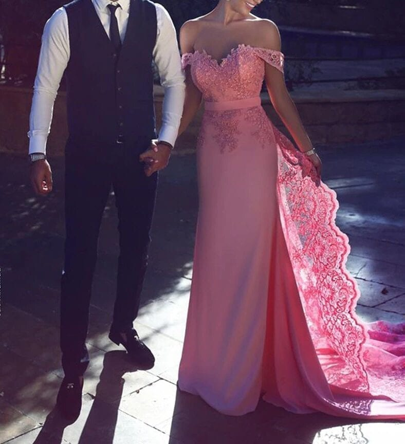 Elegant Pink Off Shoulder With Lace Applique Court Train Floor Length Prom Dress