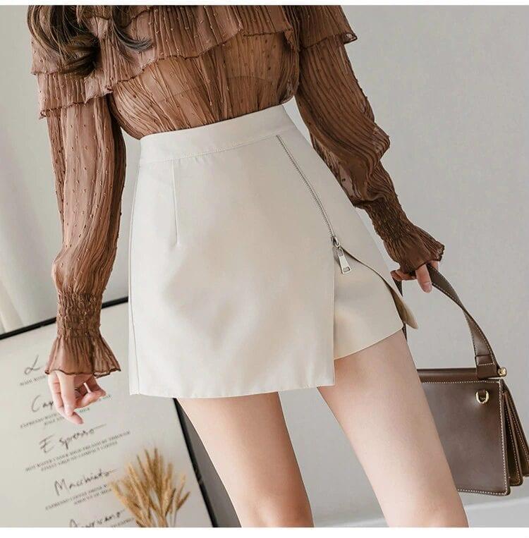 Black Apricot High Waist Irregular Zipper Shorts