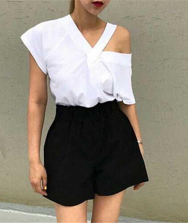 Black White Sling Short-sleeved V-neck Blouse