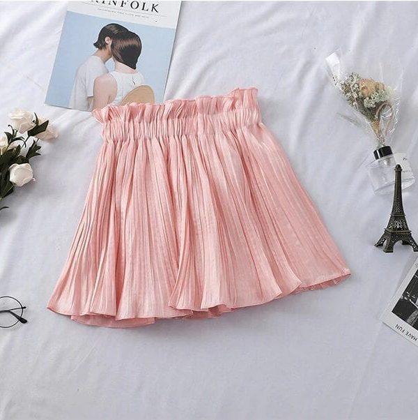 High Waist Pleated Mini Skirt