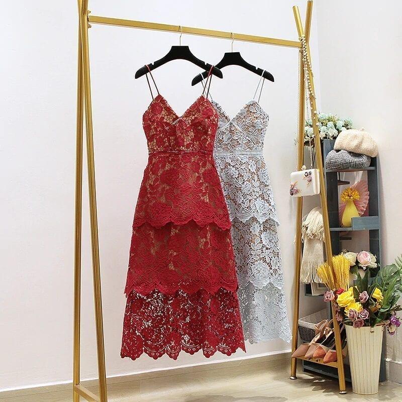 Blue Red Lace Backless V-neck Party Dress