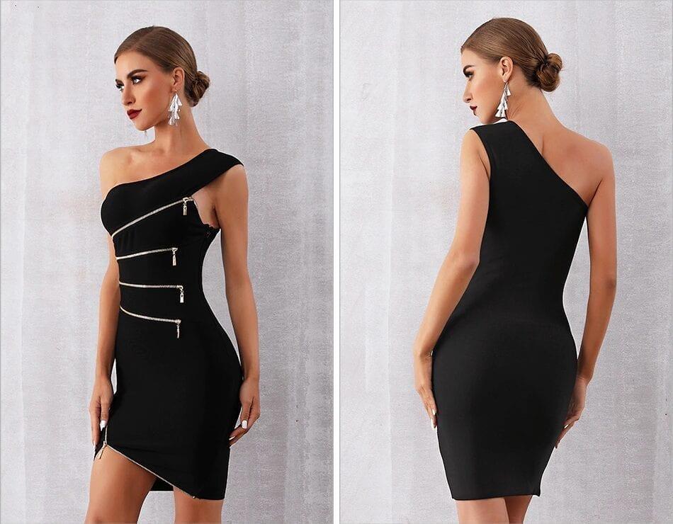 Elegant One Shoulder Zipper Black Club Party Bandage Dress