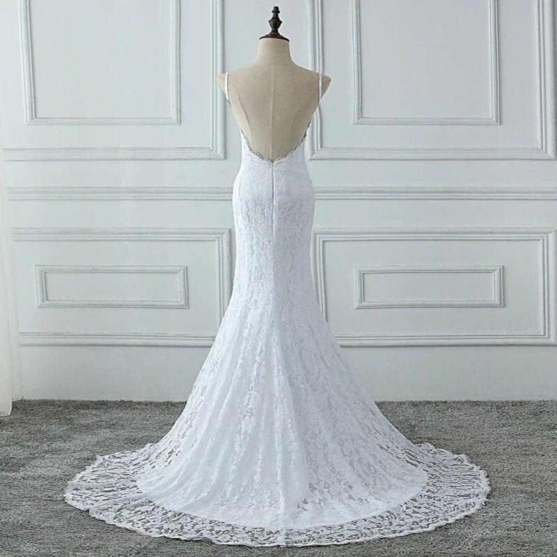 Lace Spaghetti Straps Backless Mermaid Boho Wedding Dress