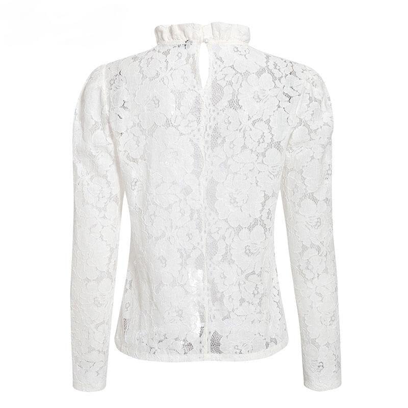 Elegant White See Through Puff Sleeve Crew Neck Blouse Shirt
