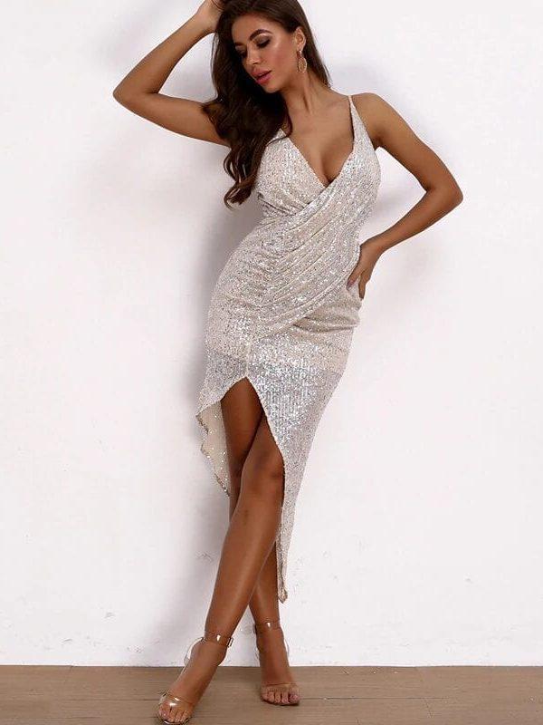 Silver Deep V Neck Strapless High Split Sequined Glitter Dress