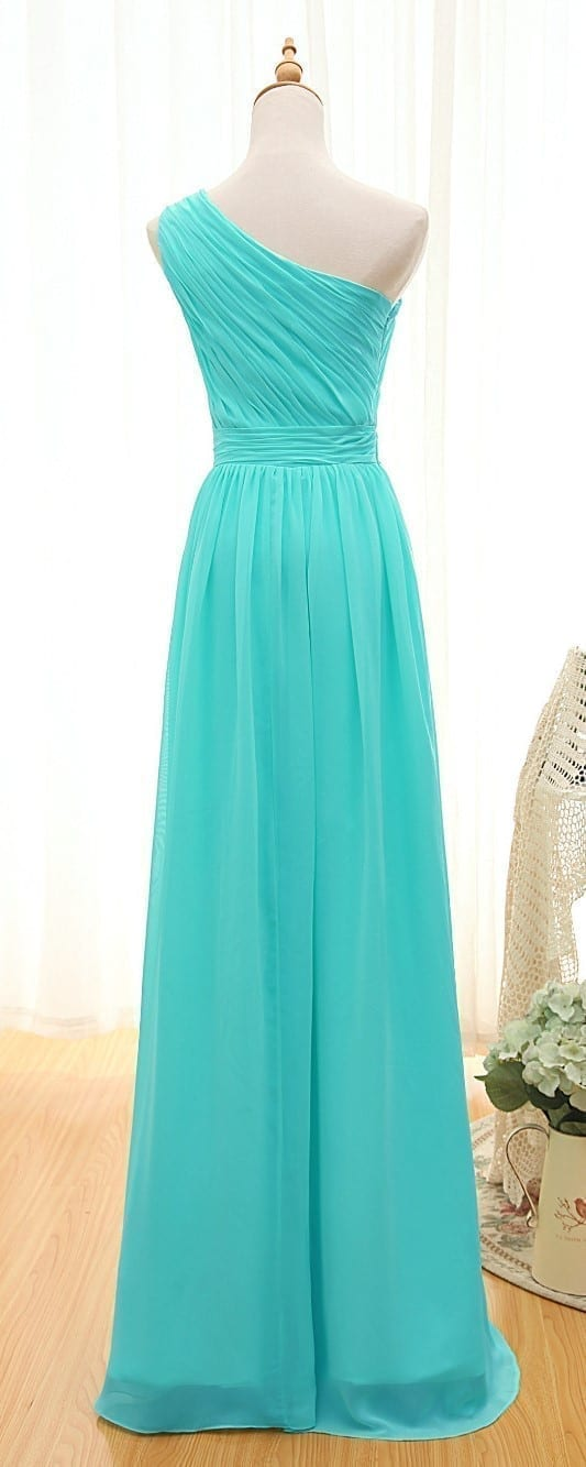 Elegant One Shoulder Pleated A-line Long Chiffon Turquoise Bridesmaid Dress