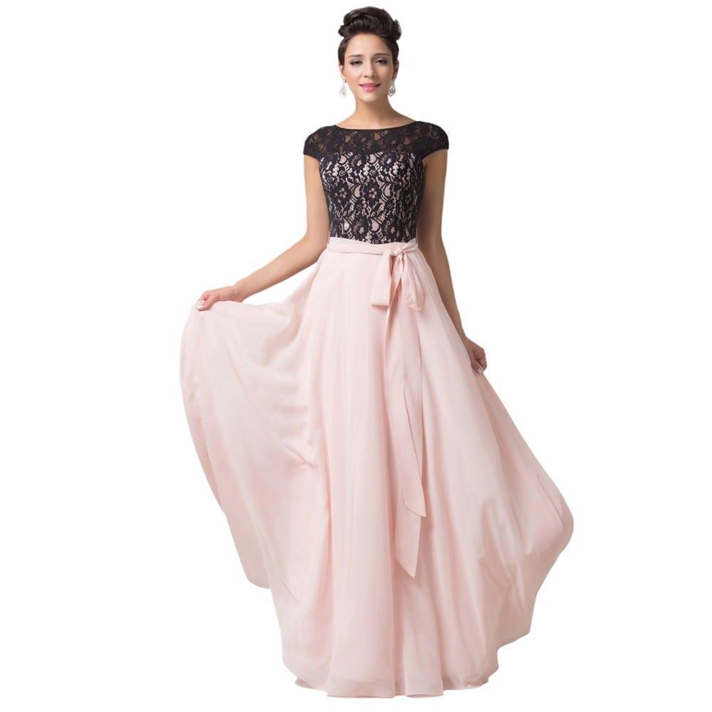 Elegant Mother Bride Dresses: Elegant Lace Chiffon Mother Of The Bride Long Evening