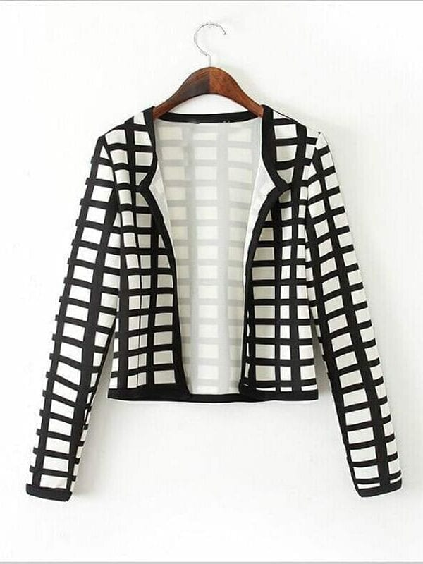White Black Print Thin Bomber Jacket Cardigan