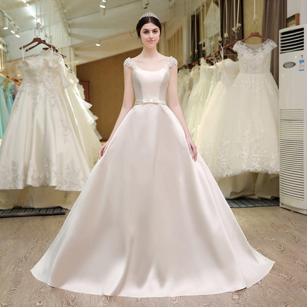 Vintage romantic princess pearls satin wedding dress for Vintage satin wedding dresses