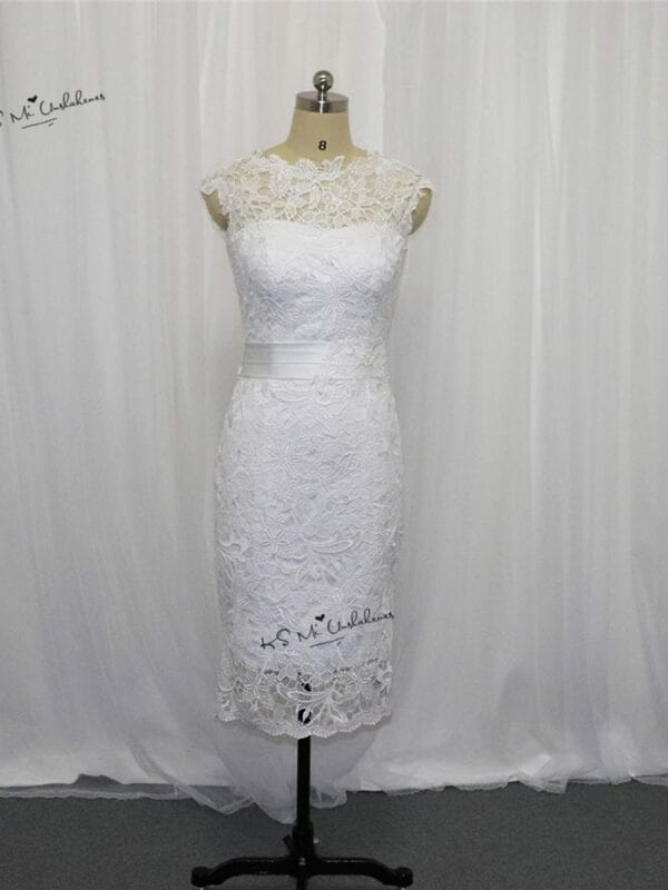Beautiful White Or Ivory Lace Knee Lenght Wedding Dress