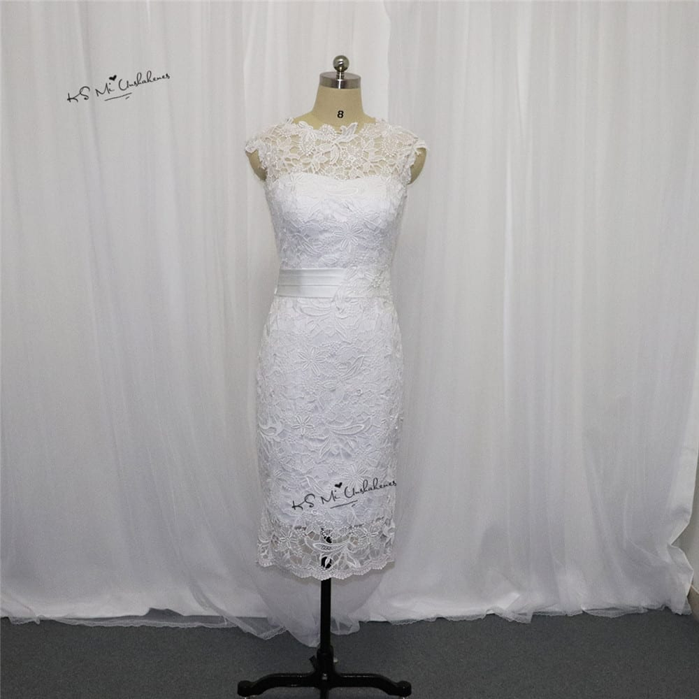 Beautiful white or ivory lace knee lenght wedding dress for Beautiful ivory wedding dresses