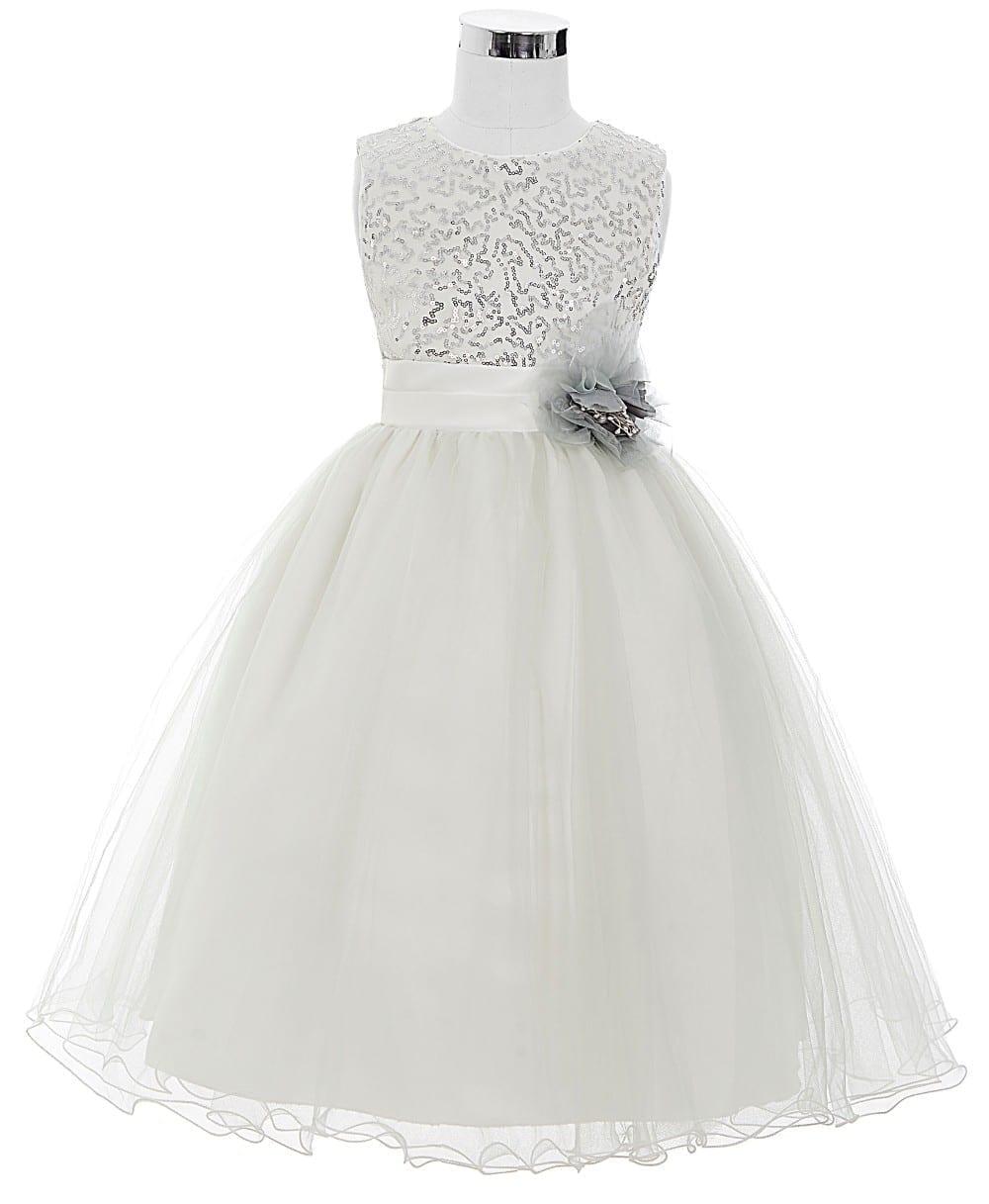 Sleeveless Satin Tulle Princess Flower Girl Dress