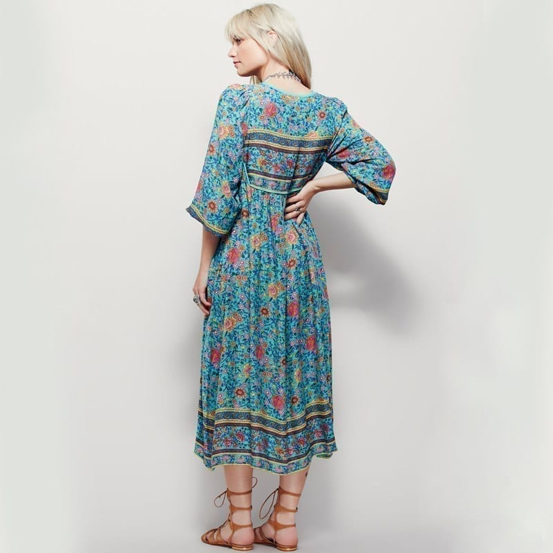 Blue Print Tassel Irregular Long Loose V-neck Boho Beach Dress