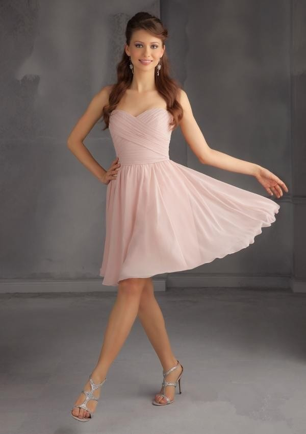 Short Chiffon Blush Pink Knee Length Bridesmaid Dress - Uniqistic.com