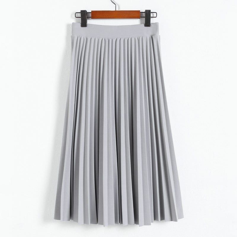 A-line Pink Gray Black Pleated Skirt