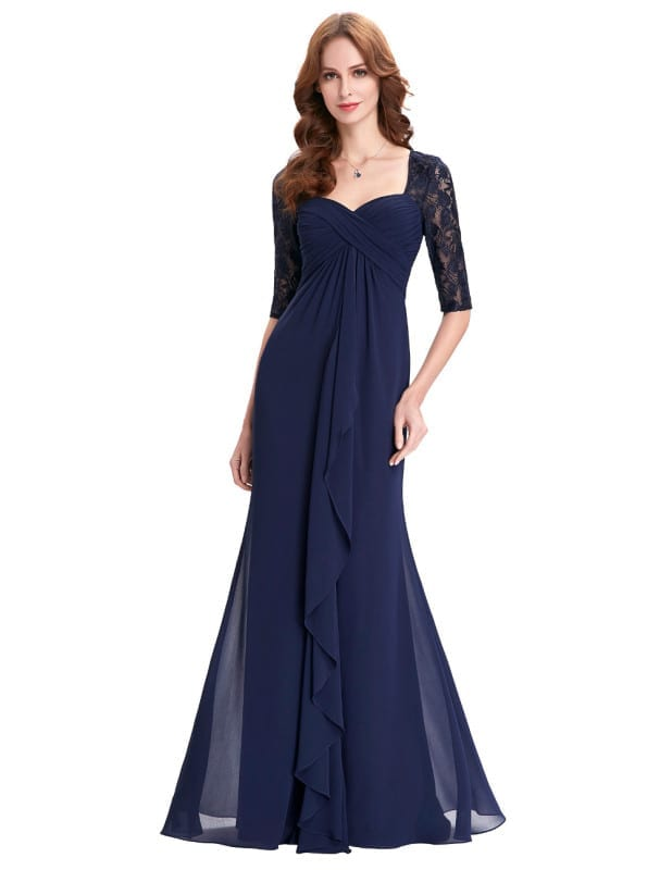 Navy Blue Half Sleeve Ruffles Chiffon Long Evening Mother Of The Bride Dress