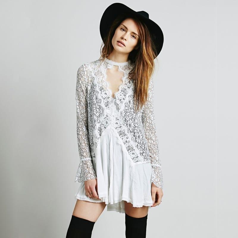 Long Sleeve Hollow Out Lace Boho Hippie Dress