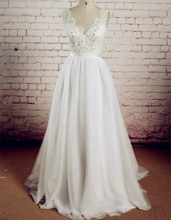 A Line Wedding Dress Lace Top