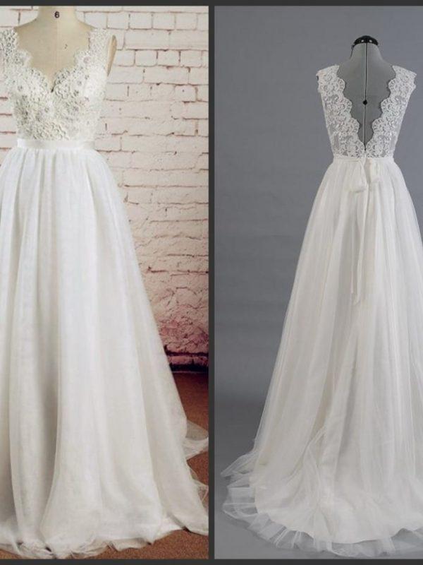 V-neck Lace Applique Low Back Tulle A-line Wedding Dress