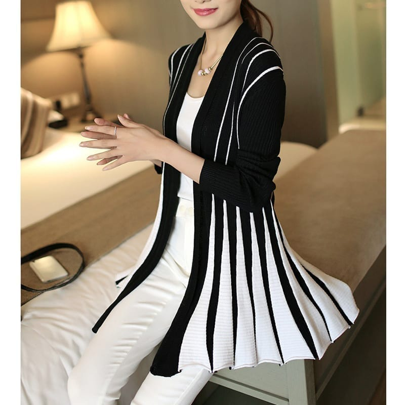 Stripes Print Long Sleeve Knitting Sweater Cardigan