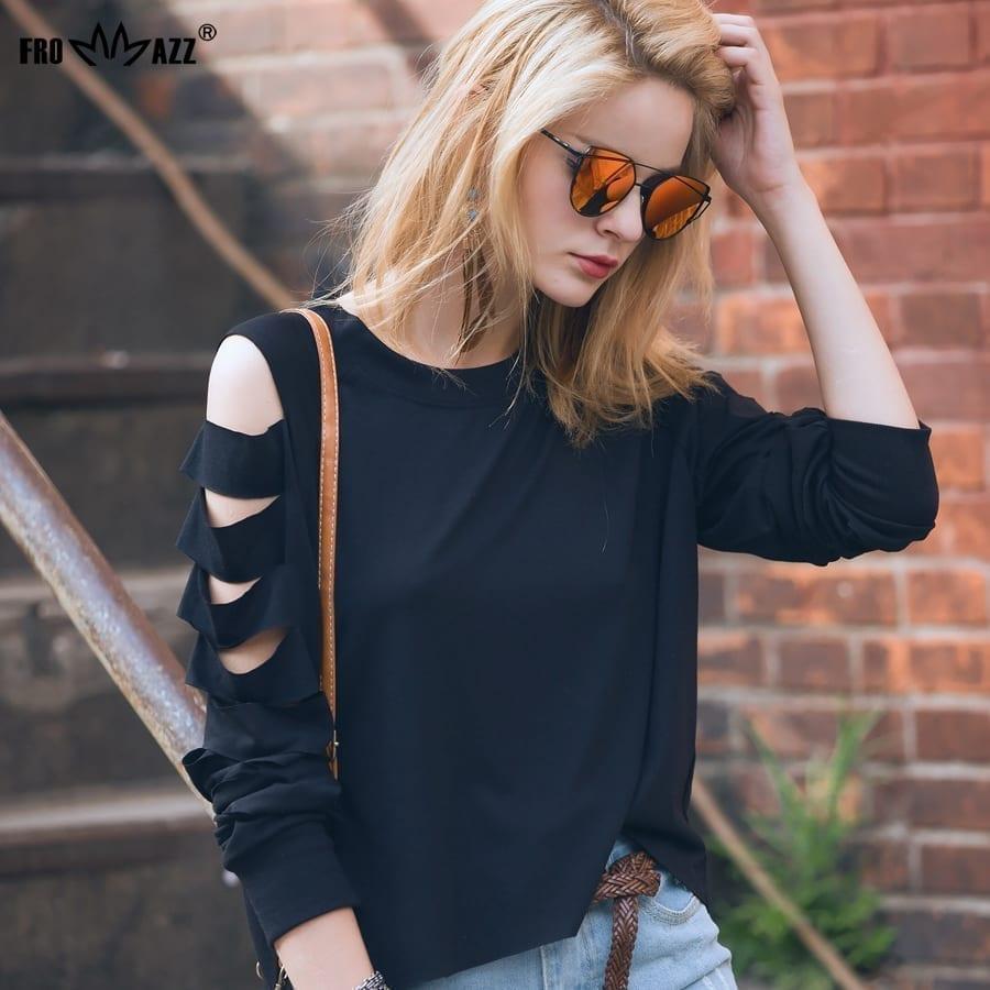 Black White Round Neck Full Sleeve Loose Chiffon T-shirts Top