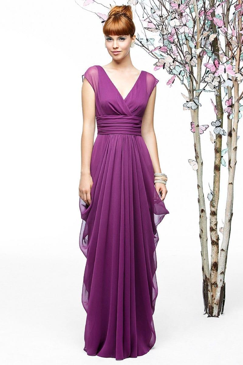 Purple Chiffon A-line Deep V-neck Long Bridesmaid Dress