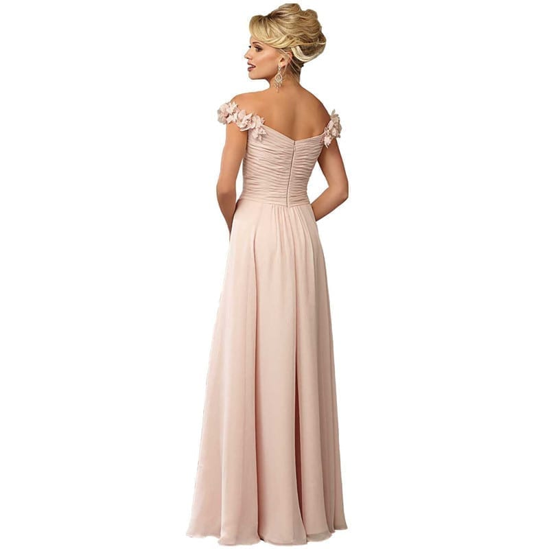 Off The Shoulder Chiffon Pleat Flowers Bridesmaid Dress