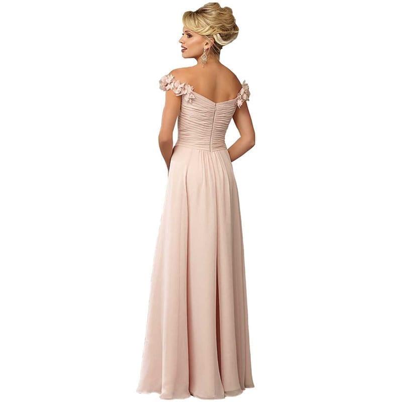 Off The Shoulder Chiffon Pleat Flowers Bridesmaid Dress