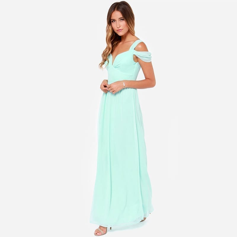 Floor Length Solid Side Slit V-neck Off Shoulder Gown Dress