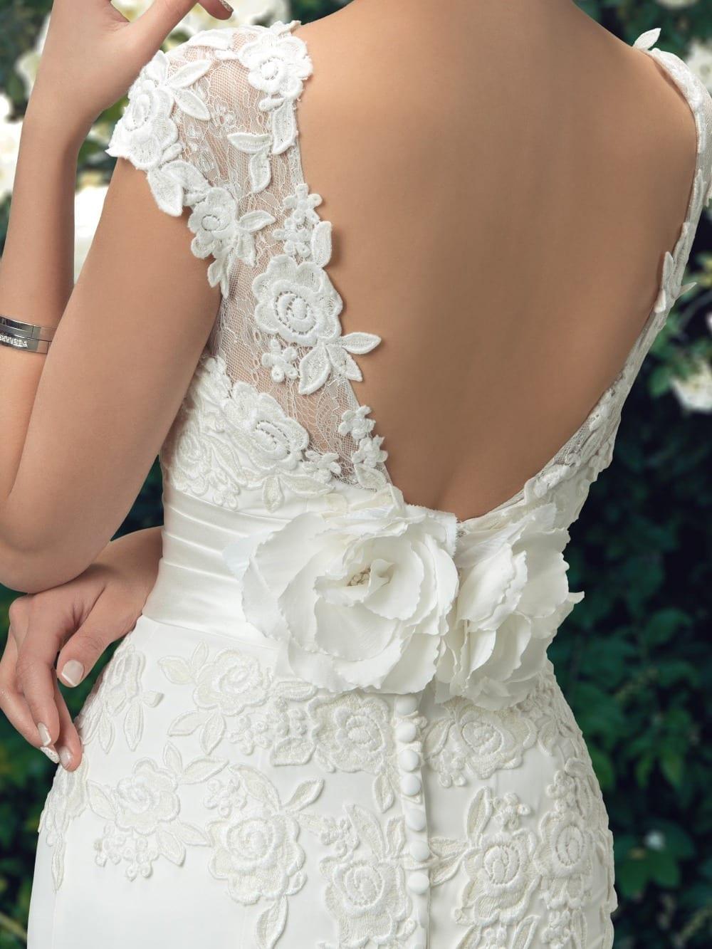 Charming Scoop Lace Appliques Trumpet Chiffon Mermaid Wedding Dress
