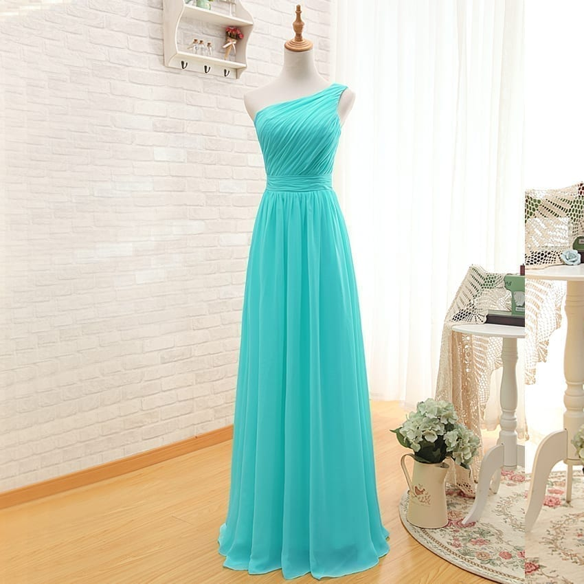 Elegant One Shoulder Pleated A Line Long Chiffon Turquoise Bridesmaid Dress